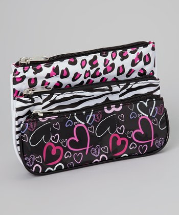 Black & Hot Pink Heart Animal Bag Set