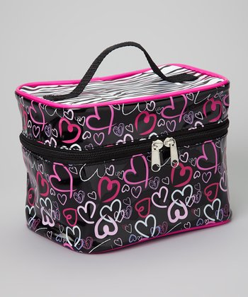 Black & Hot Pink Heart Toiletry Bag