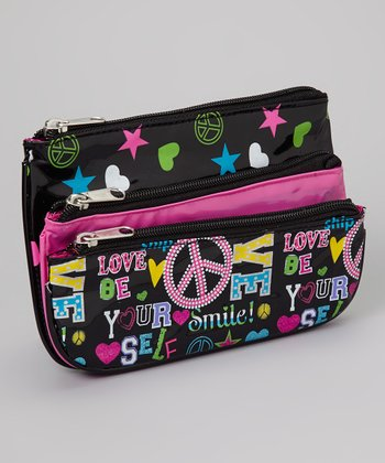 Black & Hot Pink Peace Bag Set