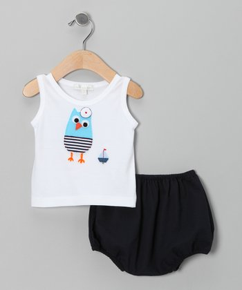 White Owl Tank & Navy Diaper Cover - Infant