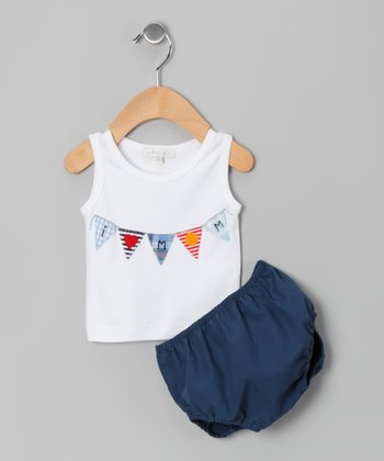 White 'I Love Mom' Tank & Navy Diaper Cover - Infant