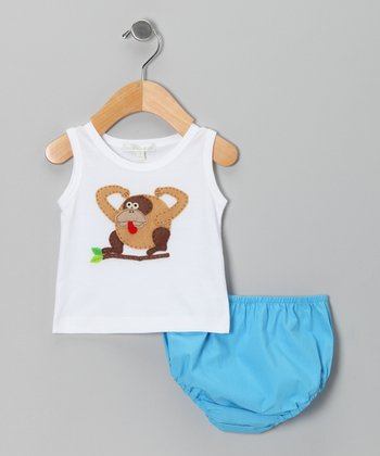 White Gorilla Tank & Turquoise Diaper Cover - Infant
