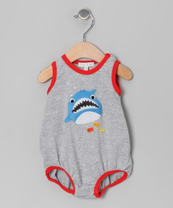 Silver & Red Shark Bubble Bodysuit - Infant