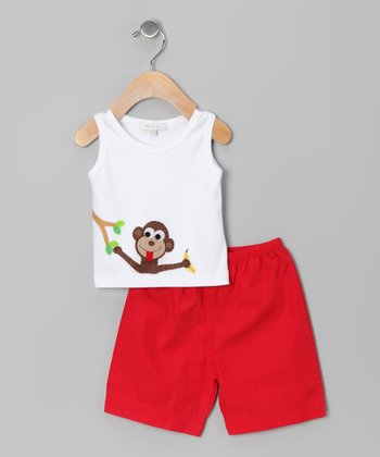 White Monkey Tank & Red Shorts - Infant