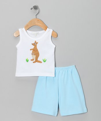 White Kangaroo Tank & Blue Shorts - Infant