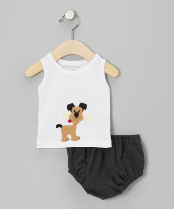 White Dog Tank & Charcoal Diaper Cover - Infant