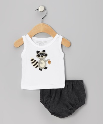 White Raccoon Tank & Charcoal Diaper Cover - Infant