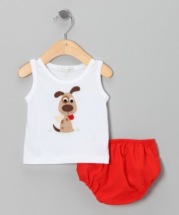 White Dog Tank & Red Diaper Cover - Infant