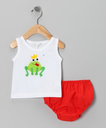 White Frog Tank & Red Diaper Cover - Infant