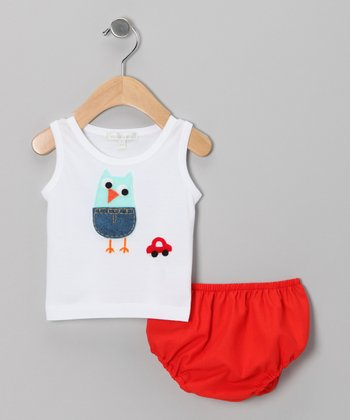 White Owl & Car Tank & Red Diaper Cover - Infant