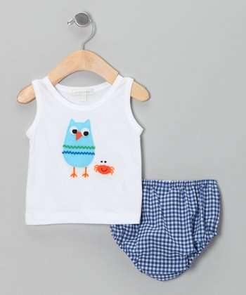 White Owl Tank & Blue Gingham Diaper Cover - Infant