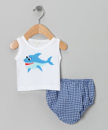 White Shark Tank & Blue Gingham Diaper Cover - Infant