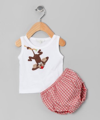 White Monkey Tank & Red Plaid Diaper Cover - Infant