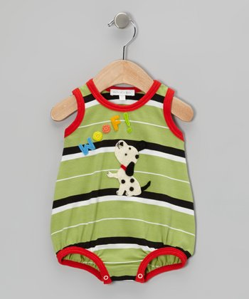Green & Red Dalmatian Stripe Bubble Bodysuit - Infant