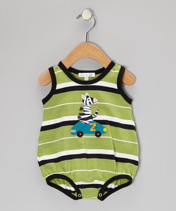 Green & Black Zebra Stripe Bodysuit - Infant