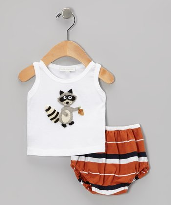 White Raccoon Tank & Orange Stripe Diaper Cover - Infant