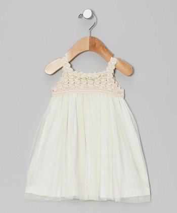 Ecru Crocheted Tulle Dress - Infant, Toddler & Girls