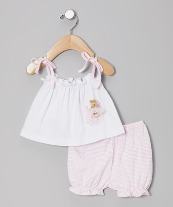 White Ballerina Bear Tank & Pink Stripe Bloomers - Infant