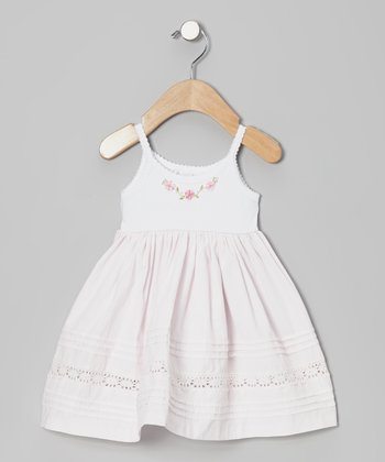 White & Pink Flower Dress - Infant & Toddler
