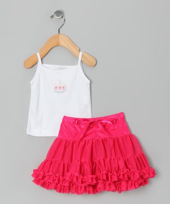White Cake Tank & Fuchsia Ruffle Skirt - Infant & Girls