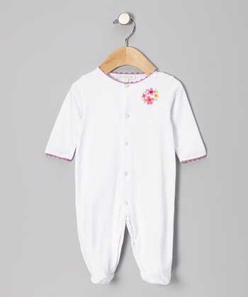 White & Lilac Flower Footie - Infant
