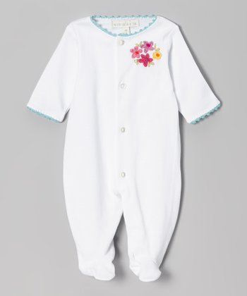 White & Turquoise Flower Footie - Infant