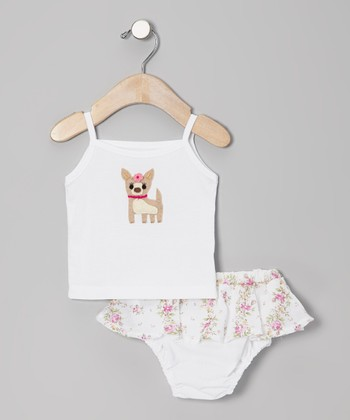 White Dog Tank & Floral Skirted Diaper Cover - Infant