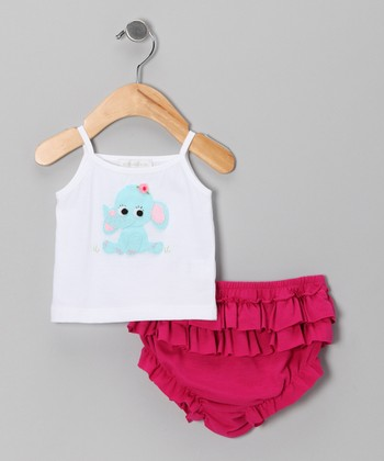 White Elephant Tank & Fuchsia Ruffle Diaper Cover - Infant