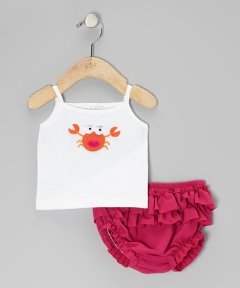 White Crab Tank & Fuchsia Ruffle Diaper Cover - Infant
