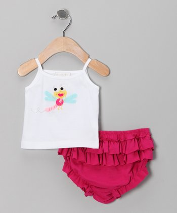White Dragonfly Tank & Fuchsia Ruffle Diaper Cover - Infant