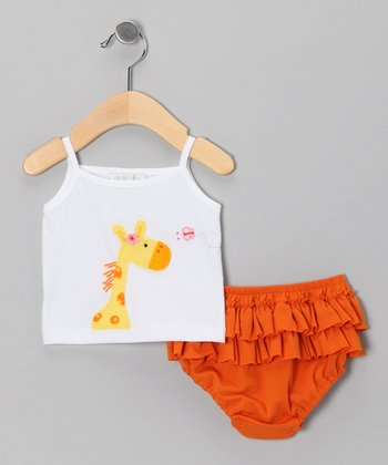 White Giraffe Tank & Orange Ruffle Diaper Cover - Infant