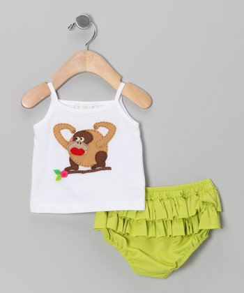 White Gorilla Tank & Lime Ruffle Diaper Cover - Infant