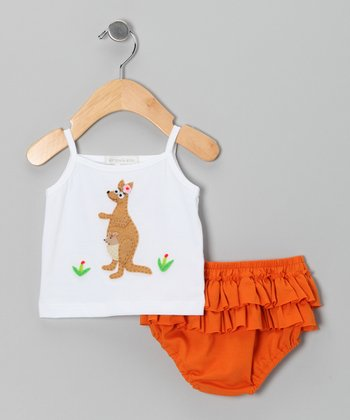 White Kangaroo Tank & Orange Ruffle Diaper Cover - Infant