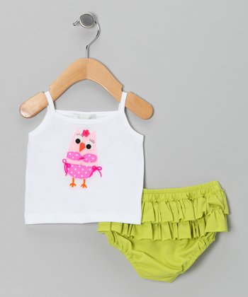 White & Pink Owl Tank & Lime Ruffle Diaper Cover - Infant