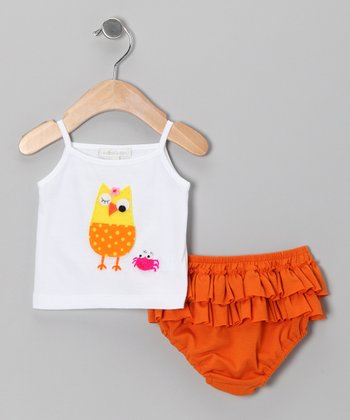 White Owl Crab Tank & Orange Ruffle Diaper Cover - Infant
