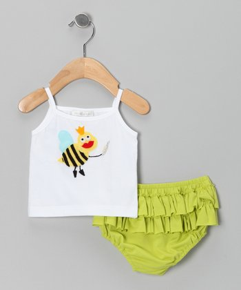 White Queen Bee Tank & Lime Ruffle Diaper Cover - Infant