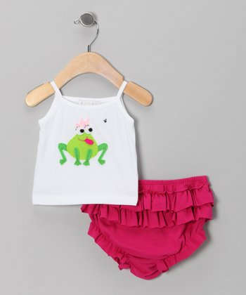 White Queen Frog Tank & Fuchsia Ruffle Diaper Cover - Infant