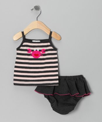 Charcoal Stripe Crab Tank & Skirted Diaper Cover - Infant
