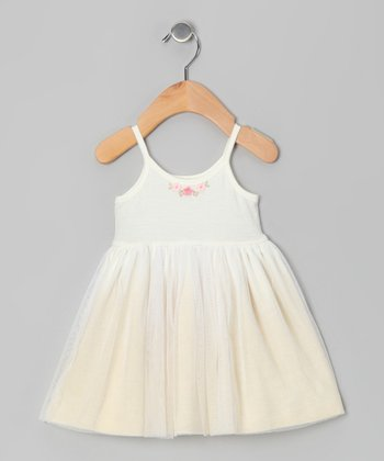 Ecru Flower Tulle Dress - Infant