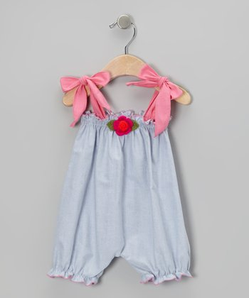 Blue Flower Bubble Romper - Infant