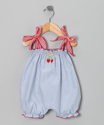 Denim Strawberry Bubble Romper - Infant