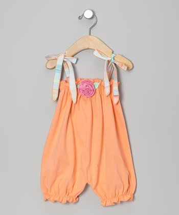 Peach Flower Bubble Romper - Infant