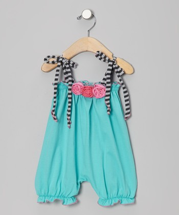 Turquoise Rosette Bubble Romper - Infant