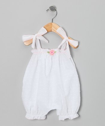 White Rosette Bubble Romper - Infant