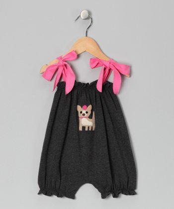 Charcoal & Pink Scottie Dog Bubble Romper - Infant