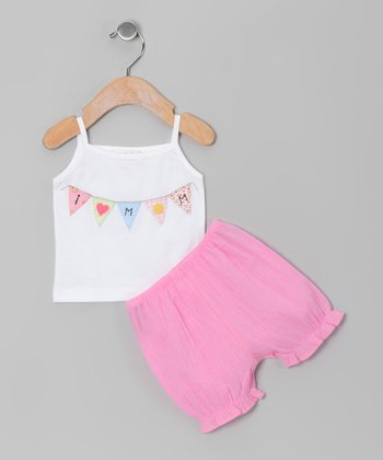White 'I Heart Mom' Tank & Strawberry Bloomers - Infant