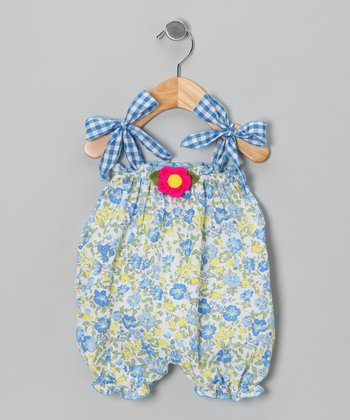 Blue Floral Bubble Romper - Infant