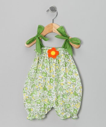 Green Floral Bubble Romper - Infant