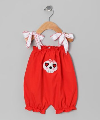 Red Skull Bubble Romper - Infant
