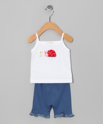 White Ladybug Tank & Denim Lace Bloomers - Infant